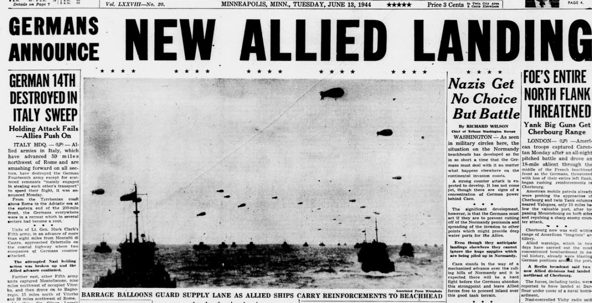 Front Page of Minneapolis Morning Tribune June 13 1944